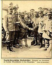 1915 *  Deutsch-österreichische Waffenbrüder teilen Verpflegung *  WW1