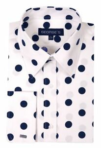 Men's 100% Cotton Polka Dot Design Dress Shirt Black/White White/Navy Size 15~20