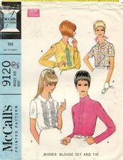 1960's VTG McCall's Misses' Blouse and Tie Pattern 9120 Size 8 UNCUT