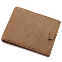 Augus Men's Full Grain Crazy Horse Leather Slim Bifold Wallet Thin Money Clip