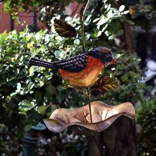 Hanging Metal Glass Bird Bath Bird Feeder Colorful Bowl Garden Ornaments Decor