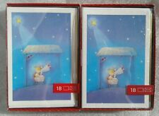 2 Boxes 18 Count (36 Cards) Hallmark Christmas Cards/Envelopes Angel/Jesus