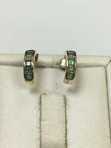Fabulous 9 Carat Yellow Gold DIAMOND & EMERALD Set Stud Drop Earrings