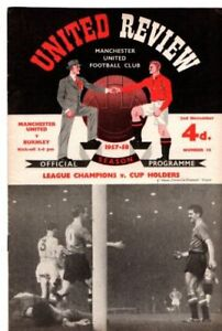 M/cr United [original Busby Babes] vs Burnley - 1957 Programme
