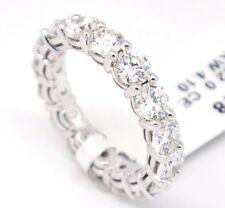 14k White Gold,VS2-SI1 F-G 4.22ct Diamonds 4mm Prong Set Eternity Band Ring,5.75