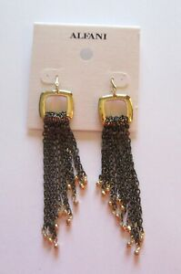 Alfani square tassel Earrings- link tassels- dangly-gold tone-dark silver