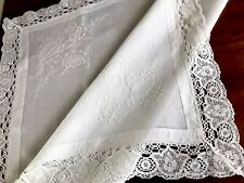 Vintage Hand Embroidered Lace Hemmed White Cotton Table Cloth 42x43 Inches