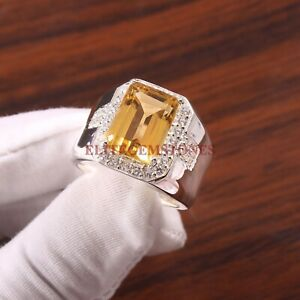 Natural Citrine Gemstone with 925 Sterling Silver Ring for Men's #5356