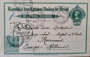 A) 1907, BRAZIL, POSTAL STATIONARY, FROM RIO DE JANEIRO TO HOLLAND, AMERICAN BAN