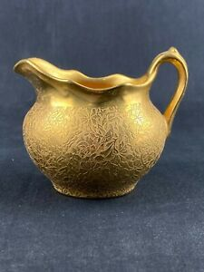 Vintage Wheeling Decorating Company Gold Embossed Creamer with Scalloped Edge