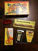Vintage Child's School Pencil Box FULL Crayons, Eraser, Scissors Pencils NEW