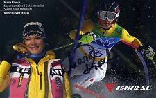 Original Autographe Maria Riesch 2010 Vancouver médaille d'or jeux olympiques