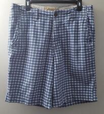 Mens Hollister Shorts Size 32 Blue & White Plaid Flat Front 100% Cotton EUC
