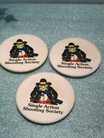 Vintage Rare Single Action Shooting Society Drink Coasters and Holder