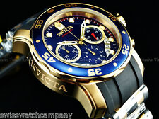 Invicta 48mm Pro Diver Scuba Swiss Chrono ROYALS BLUE DIAL 18KGP Strap Watch