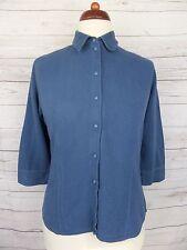 Donna Manica L-Blu Vintage Retro 90s Camicia confortevole Misto Cotone -12 - DG67