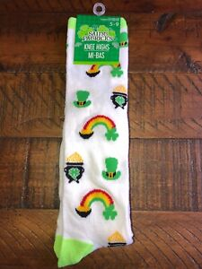 St Patricks Day Rainbow Knee High Socks Ladies 5-9 New
