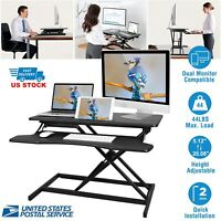 Height Adjustable 2 Monitors Riser Standing Desk Tabletop Sit Stand Workstation
