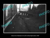 OLD LARGE HISTORIC PHOTO OF EMORY GROVE MARYLAND RAILROAD DEPOT STATION c1940