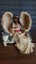 Vintage Music Box Figurine Ledge Resting Native Female Angel with Wolf Pack