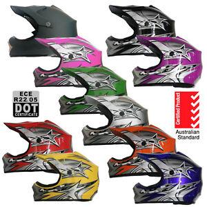 Youth Motocross Helmet - Kids Child, VARIOUS COLOURS Aust Std, Dirt bike ATV BMX
