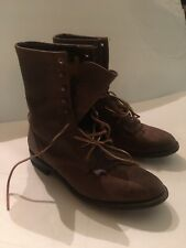 Justin Brown Paddock Boots Kiltie Leather Laces 8.5