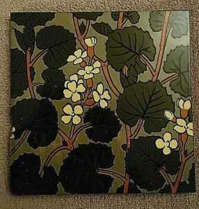 Antique Japanesque style large 8 inch floral and leaf ceramic tile     21/517S