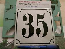 Hausnummer Emaille Nr. 35  schwarze Zahl auf weißem Hintergrund 14 cm x 14 cm
