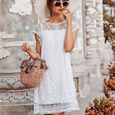 Damen Lose Spitze Urlaub Shiftkleid Sommerkleid Strandkleid Longtop Minikleid