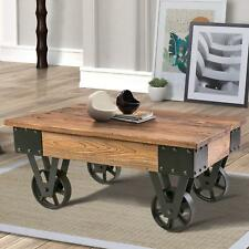 Vintage Coffee Table Cocktail table with Metal Wheels End Table Solid Wood