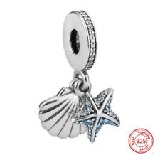 925 Sterling Silver Tropical Starfish Sea Shell Dangle Authentic Pandora Charm
