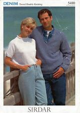 "~ Sirdar Knitting Pattern For Lady's Top & Man's V-Neck Sweater ~ 32"" ~ 42"" ~"