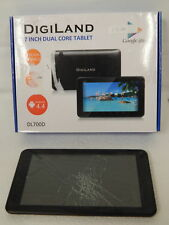 "Digiland DL700D 7"" 4GB Wi-Fi Tablet BLACK Cracked Screen Defective"