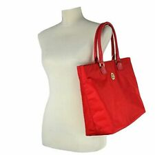 Auth Tory Burch Dena Leather/nylon Convertible Tote W Detachable Strap Nylon Bright Red