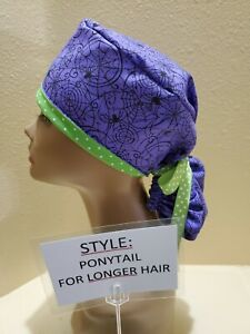 Spiders and Webs (purple) Halloween Women's Ponytail Surgical Scrub Hat/Cap