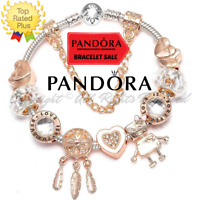 Authentic Pandora Bracelet Silver with Rose Gold Charm LOVE with European Charms