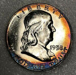 1958-D FBL Silver Franklin Half Dollar 50c ~ Full Bell Lines Choice BU Toned