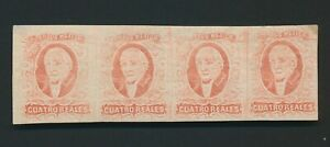 MEXICO STAMPS 1856 4r RED HIDALGO STRIP x4 IMPERF MINT OG, Sc #4c