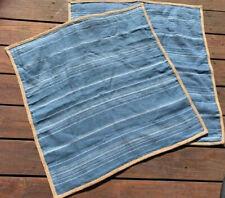 RALPH LAUREN blue striped linen w/ hemp border Pair of EURO SHAMS pillow covers