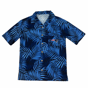 New England Patriots - Men's Hawaiian Shirt - Blue Black - Small - Fanatics