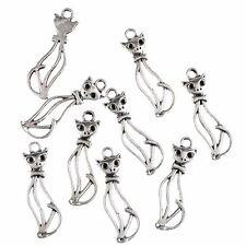 1.4*3.3cm Animal Cute Cat Tibetan Silver Charms Necklaces Pendants Beads 10PCS