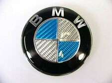 NEW 74mm BLUE CARBON BMW BONNET / BOOT BADGE FOR BMW 1 3 5 7 Z3 Z4 X3 X5 SERIES