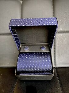 Tie & matching cuff links/pocket square/ Paul Smith- giftboxed/ dark blue