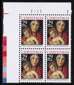 US USA Sc# 2710 MNH FVF PLATE # BLOCK Christmas Bellini Madonna Christ Child