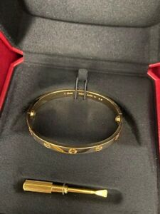 cartier yellow gold love bracelet bangle size 17 New With Full Set.