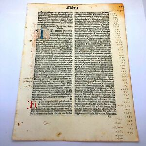 RARE 1487 Incunable Early Bible Leaf Illuminated Manuscript Codex Paper Old