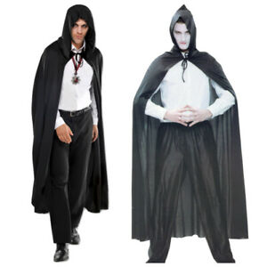 Umhang Kapuze Vampir Graf Dracula Karneval Halloween Kostüm Horror Hexenmeister