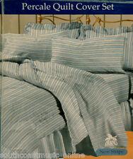 Blue Stripe POLYCOTTON PERCALE KING QUILT COVER DOONA DUVET SET +2 PILLOW CASES