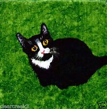 Black CAT Abstract outsider landscape Folk Art PRINT Todd Young TUXEDO CAT