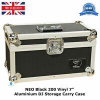 "1 NEO Black Storage DJ Flight Carry Case for 200 Singles 45 rpm vinyl 7"" Records"